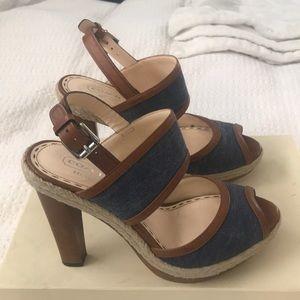 💙 [Coach] Daria Denim & Wood Heels 💙